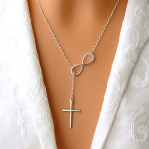 Hot sales Necklaces NEW Fashion Infinity Cross Pendant Necklaces Wedding Party Event 925 Silver Plated Chain Elegant Jewelry For Women Ladie