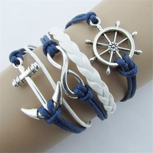 Großhandels-Neuer-Silber-Armbänder Schmuck Wasser Ruder Anker Blau Leder-Seil-Armband-Armband-A1