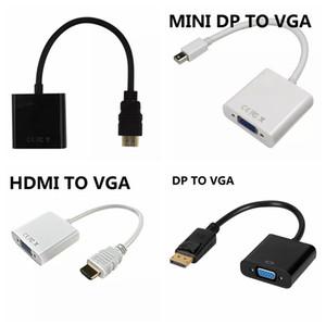 1080 P HDMI para VGA Mini DP para VGA DP Display Port para VGA Converter Cable 10 PÇS / LOTE