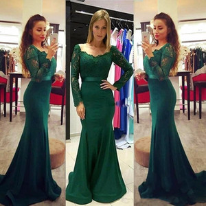 Dark Green Long Sleeves Evening Dresses 2019 Lace Top V Neck Mermaid Sweep Train Modest Prom Party Special Occasion Gowns Cheap Custom