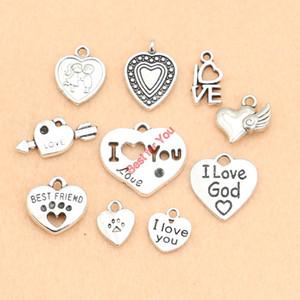 Atacado-Heart Angel Love Kissing Fairy Charm Pendant Bracelet Bracelet Jewelry Making DIY Accessories Crafts Handmade