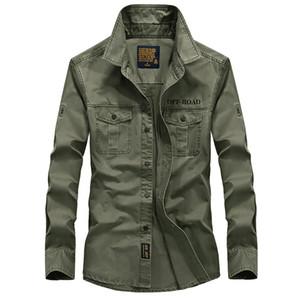 AFS JEEP Тактическая Рубашка 2019 Весна Европейский Ковбой Стиль мужские Повседневные Рубашки Мужская Армейская Одежда 100% Хлопок Мода Рубашка С Длинным Рукавом