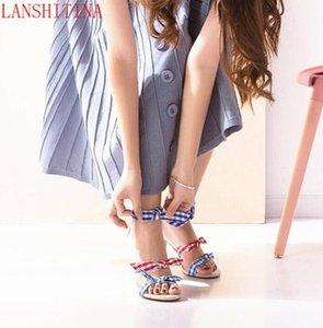 2017 Grid Print Sandali Bowtie Tacchi alti Colore misto Estate Celebrity Shoes Donna Sandali Knot Knot da sposa