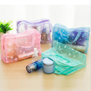 Makeup Bags Cosmetic Bags Transparent Waterproof PVC Bag Floral Print For Toilet Bathing Pouch Travel fast shipping