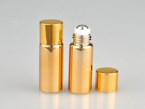 100pcs / lot 향수 병에 금속 볼 롤 5ML UV 빈 유리 Refillable 향수 병 Essential Bottles gold silver color