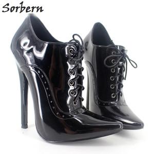 Seksi Cosplay Yüksek Topuk Elbise Ayakkabı Unisex Dantel-up 18 CM Topuk Seksi Fetiş Ayakkabı Topuklu Kadın Pompaları Artı Boyutu 36-46 Çok renkler
