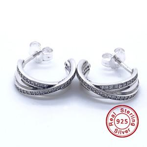 2016 Enrolado Brinco Aros 100% 925 Sterling Silver brinco Fit Pandora Encantos Brinco Authentic DIY Bead Fine Jewelry