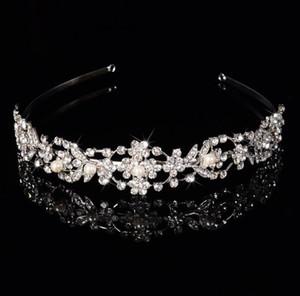 Mulheres de cristal de strass pérola flor Crown festa de casamento de noiva headband faixa de cabelo tiara acessórios de casamento jóias 1 pcs navio da gota