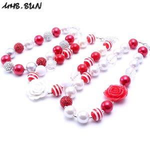 MHS.SUN Red + White Design de Cor 2 PCS Colar de Presente da Festa de Aniversário Para Crianças Meninas Beaded Bubblegum Bebê Crianças Chunky Colar de Jóias