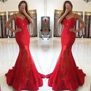Kırmızı Spagetti Sapanlar Mermaid Gelinlik Modelleri Sevgiliye Etekler Ile Dantel Aplikler gelinler See Through elbiseler bal 2017 Güz