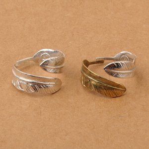 925 sterling silver jewelry nice feather open simple band ring for men two tone adjustable Japan designer ring