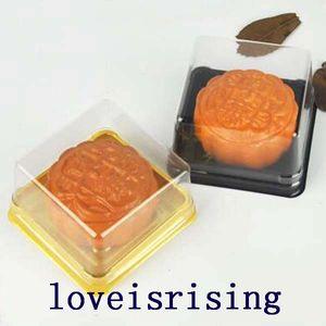 القادمون الجدد - 100 قطع = 50 مجموعات 6.8 * 6.8 * 4 cm حجم صغير واضح البلاستيك صناديق كعكة الكعك الحاويات الغذاء هدية تغليف لوازم الزفاف