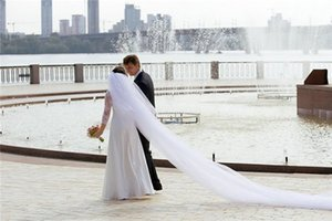 5M two layer White ivory Champagne Wedding veil cut edge Cathedral Lehgth with comb Bridal veil 487p