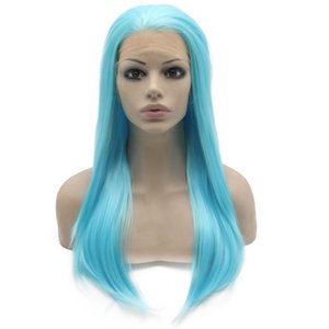 "24"" Long Light Blue Lace Wig frente Drag Queen Cosplay peruca festa S02"