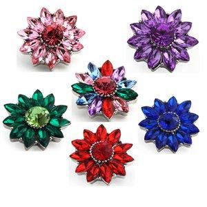 Deri Bileklik Takı için Karışık Renkler Kristal Çiçek Noosa Chunks Metal Zencefil 18mm 20mm çekin Düğmeler