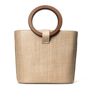 2017 Grandes Bolsos de Paja para Las Mujeres Anillo Mango Nuevo Diseño Bolsa de Playa Señoras Tejido Bolsas de Hombro Cesta de La Tienda Mercado de Compras Tote C75