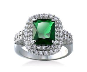 Горячие женщины зеленый драгоценный камень кольцо настройки белого золота покрытием Циркон CZ бриллиантовые кольца для мужчин обручальное свадебный подарок