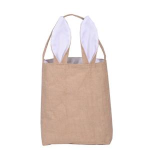 New 5styles Cotton Linen Easter Bunny Ears Basket Bag For Easter Gift Packing Easter Handbag For Child Fine Festival Gift 255*305*100mm