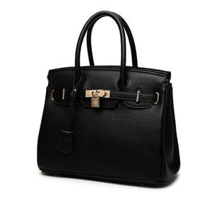 Diseñador de la marca Bolso de cuero de la PU de alta calidad con bufanda de la cerradura del oro 30cm 35cm bolsos de la mujer diseñadores de moda bolsas femininas