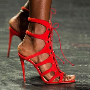 Sexy Frauen Gladiator Sandalen Sommer Ausschnitte Riemchen High Heels Schuhe Weiß Sexy Offene spitze Celebrity Female Sandalen 35-42