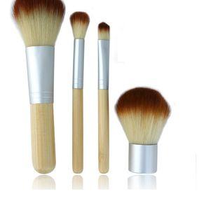 Tragbare Holz Make-up Pinsel Bambus aufwendige Kosmetik Pinsel Set Frau Kabuki Pinsel Kit Make-up Pinsel mit Knopf Tasche 4 teile / satz OOA2155