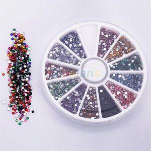 Оптово колеса 2.0mm 12 цветов Nail Art Decoration Блеск Советы Стразы Gems Flat Бриллиантовые 0214 2XUA