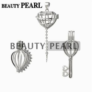 3 Stück Geschenkkäfig 925 Sterling Silber Medaillon Liebes Wunsch Perle Herz Anhänger Käfig Perle Montierungen