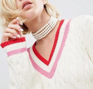 New Pearl Choker Halskette Simulierte Perle Frauen Aussage Halskette Partei Schmuck Braut Halsband Halskette Hochzeitsgeschenke Elegante Collares