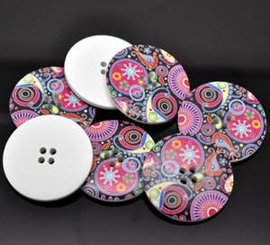 Accessoires de vêtements de bricolage peints autour de quatre trous en bois 40mm bande dessinée boutons en bois animaux bouton bois jewelryl
