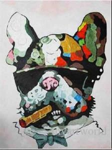 Chien fumeur abstraite encadré, peint à la main pure contemporain DECOR DE MUR Peinture à l'huile abstraite animalier Qualité Canvas.Multi tailles disponibles