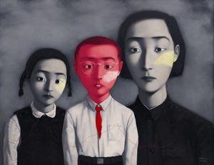 Enmarcado, lotes al por mayor, artesanía pura retratos arte Zhang Xiaogang pintura al óleo sobre lienzo de algodón de alta calidad lienzos de múltiples tamaños, R184 #