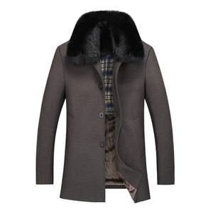 Wholesale- Woolen Coat Man 2016 패션 모피 칼라 울 자켓 울 혼합 아우터 코트 두꺼운 따뜻한 자켓 탈착 가능한 모피 128wy