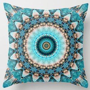 Gros- Mandala pierre précieuse Turquoise Kaléidoscope luxe 33cmx33cm pouces doux Throw brillant Taie d'oreiller Taie couverture (côtés jumeaux)