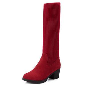 Las mujeres de tacón alto sobre la rodilla botas de invierno Botas Masculina caliente botas largas montar a la moda zapatos de calzado de calidad