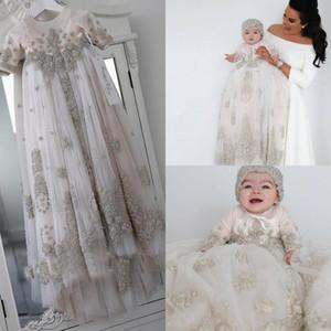 Robes de baptême en cristaux roses rougis pour bébés girls manches longues dentelle de baptême appliquée robes de baptême avec bonnet première robe de communication