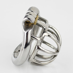 NEW Stainless Steel Male Chastity device Super Small Adult Cock Cage With Curve Cock Ring Sex Toys Bondage belt