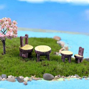2pcs Set Round Table and Chair Potted Plant Ornament DIY Material Model Handicraft Moss Terrarium Micro Landscape Fairy Garden Desktop Zakka