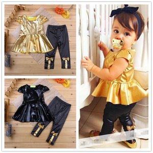Baby Girls fashion shiny dress 2pc sets short sleeves pure colors bling bling dress and Bow Pants Infants summer outfits sets for 0-3T