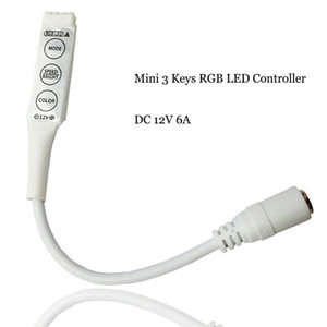 3 ключа RGB Mini Controller Dimmer для 5050 3528 RGB LED полосы света 19 динамических режимов и 20 статических цветов DHL Бесплатная доставка ZJ0192