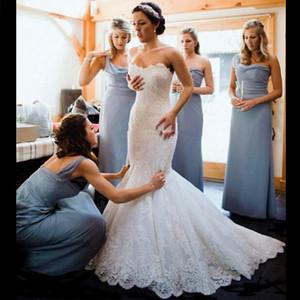 2019 design simples longo sereia vestidos de casamento strapless completa lace sweep trem vestidos de noiva tamanho personalizado moda