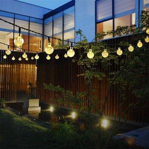 Открытый двор Солнечный 30led воздушный пузырь бусины строка огни, 19,7 футов воздушный пузырь круглый хрустальный шар огни декоративное освещение (теплый белый)