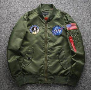 2016 ilkbahar Sonbahar ince NASA Donanma uçan ceket adam varsity amerikan koleji bombacı uçuş ma1 ceket erkekler için