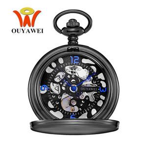 Orologio Uomo OYW Brand Mechanical Hand Wind Pocket Watch Men Retro Vintage Pendant Skeleton Design Watch With Full Steel Chain