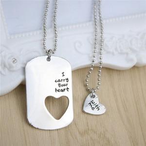 Collier exquis, je porte votre coeur lettres coeur pendentifs colliers pendentifs colliers d'argent Puzzle One Set