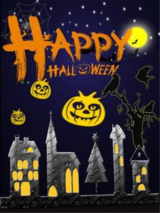 Happy Halloween Fond Photographie Nuit Ciel Avec La Pleine Lune Étoiles Scintillantes Ville Maisons Enfants Enfants Dessin Animé Fond