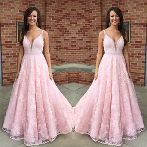 2017 New Pink Full Lace Long Prom Dresses Sexy Deep V-neck Spaghetti Straps Beaded Sash Custom Made Formal Evening Dress Wear Party Gowns
