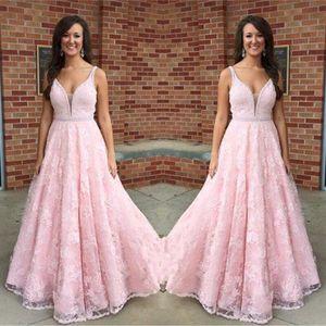 2017 Nuevo Pink Full Lace Vestidos de fiesta largos Sexy escote en V profundo Correas espaguetis Sash moldeado por encargo Vestido de noche formal Vestidos de fiesta