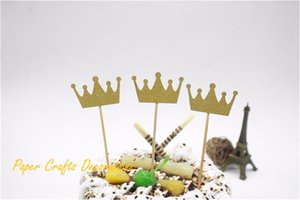 Al por mayor-3pcs / lot 2.5 * 4 cm Gold Glitter Birthday Crown Cake Topper Kit 1st Kids Birthday Cake Decoration Party Supplies