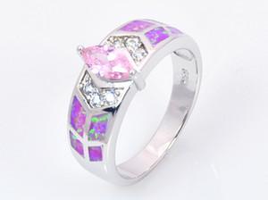 Gros détail mode bijoux belle bleu / rose / blanc opale de feu pierre argent bague pour les femmes RAT001