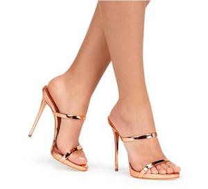 Narrow Band Strappy Sandals Slipper Gold Silver Sheepskin Gladiator Sandals High Heels Women Slides Shoes slip on Woman Sandals